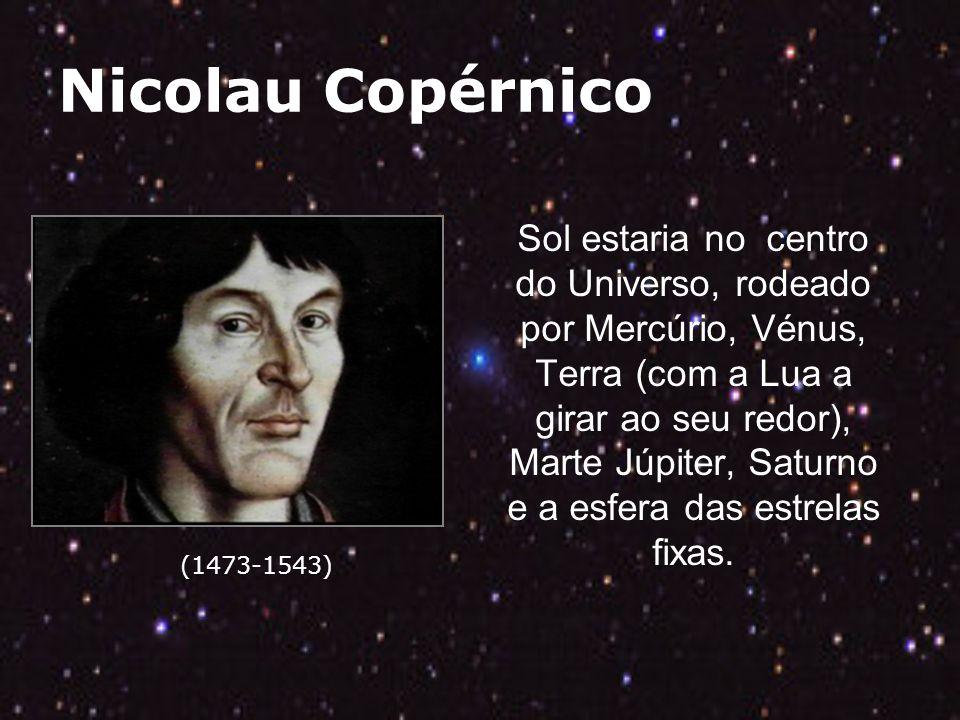 Nicolau Copérnico (1473-1543) Sol estaria no centro do Universo, rodeado por Mercúrio, Vénus, Terra (com a Lua a girar ao seu redor), Marte Júpiter, Saturno e a esfera das estrelas fixas.