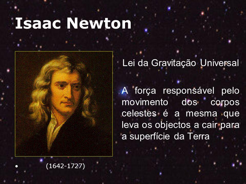 Isaac Newton (1642-1727) Lei da Gravitação Universal A força responsável pelo movimento dos corpos celestes é a mesma que leva os objectos a cair para a superfície da Terra