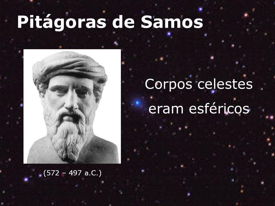 Pitágoras de Samos (572 – 497 a.C.) Corpos celestes eram esféricos