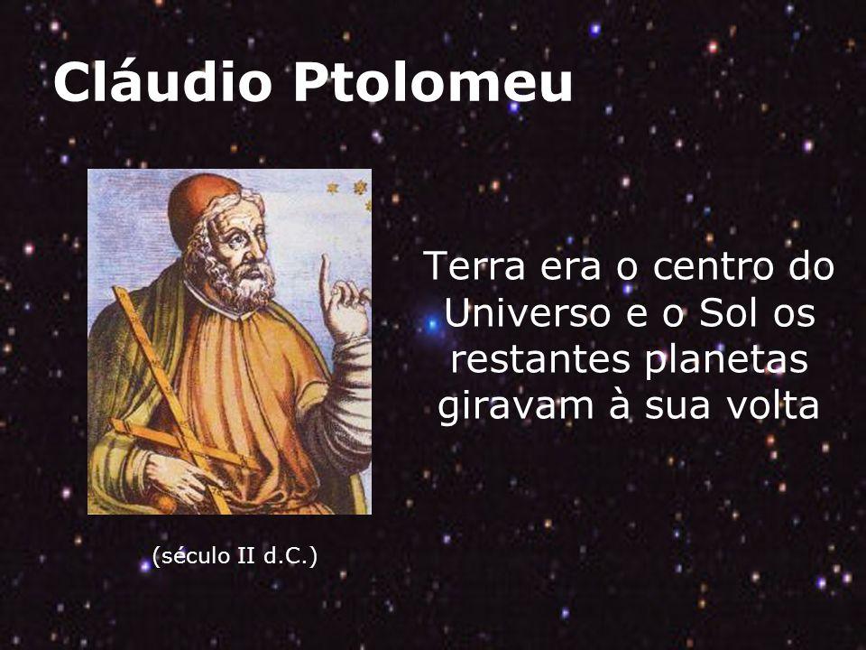 Cláudio Ptolomeu (século II d.C.) Terra era o centro do Universo e o Sol os restantes planetas giravam à sua volta