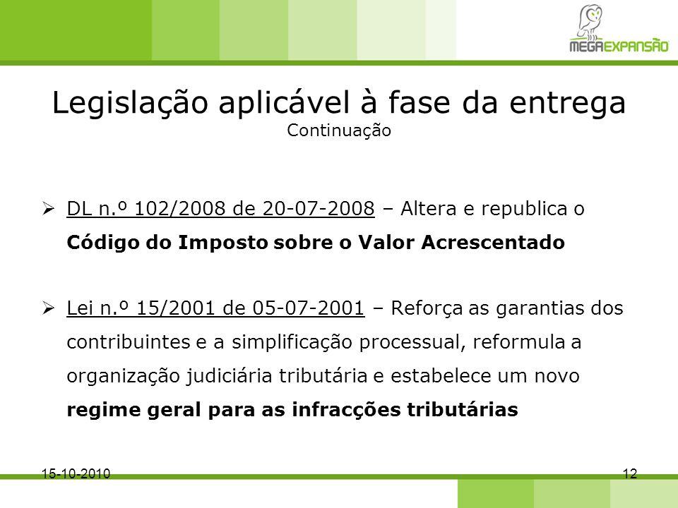 Legislação aplicável à fase da entrega Continuação DL n.º 102/2008 de 20-07-2008 – Altera e republica o Código do Imposto sobre o Valor Acrescentado L