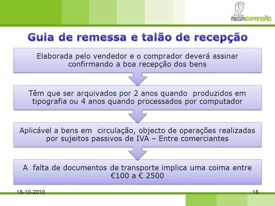 A falta de documentos de transporte implica uma coima entre 100 a 2500 Aplicável a bens em circulação, objecto de operações realizadas por sujeitos pa