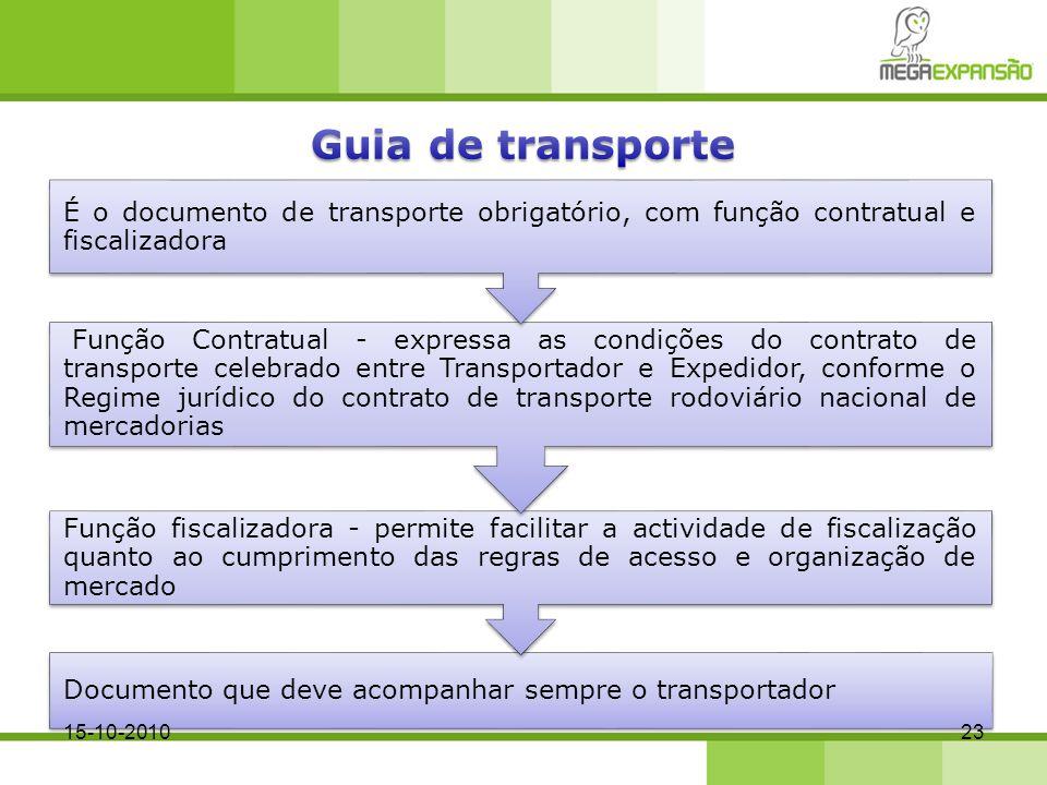 Documento que deve acompanhar sempre o transportador Função fiscalizadora - permite facilitar a actividade de fiscalização quanto ao cumprimento das r