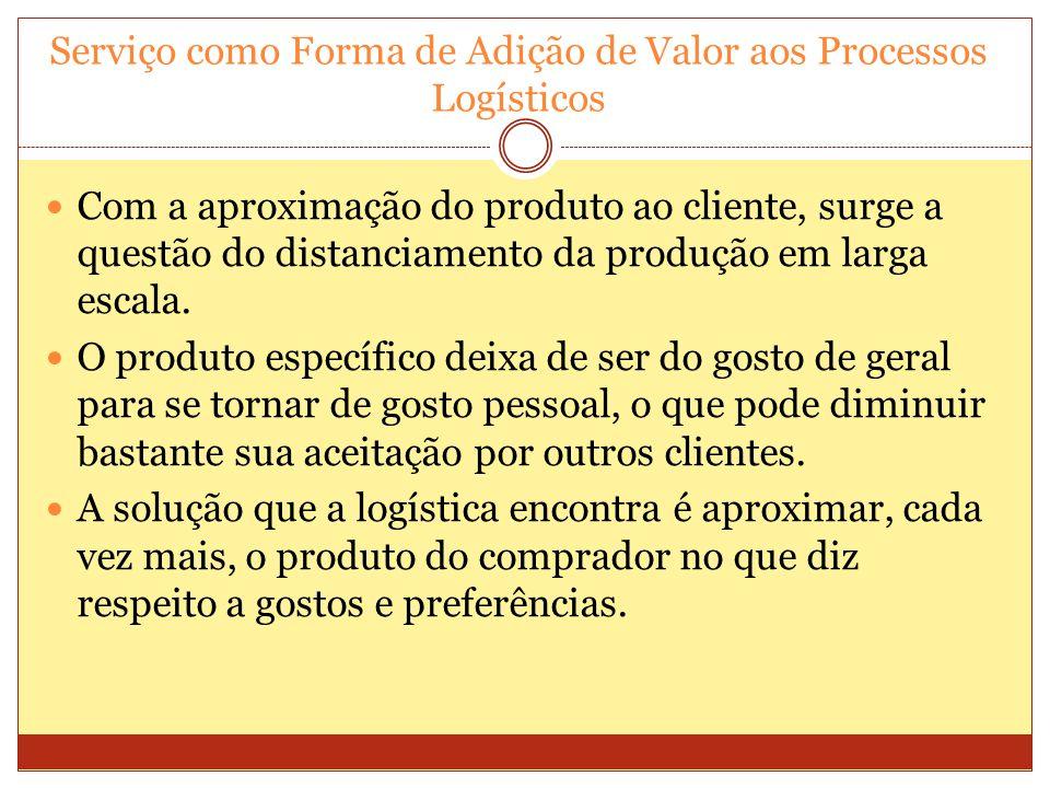 Serviço como Forma de Adição de Valor aos Processos Logísticos Com a aproximação do produto ao cliente, surge a questão do distanciamento da produção