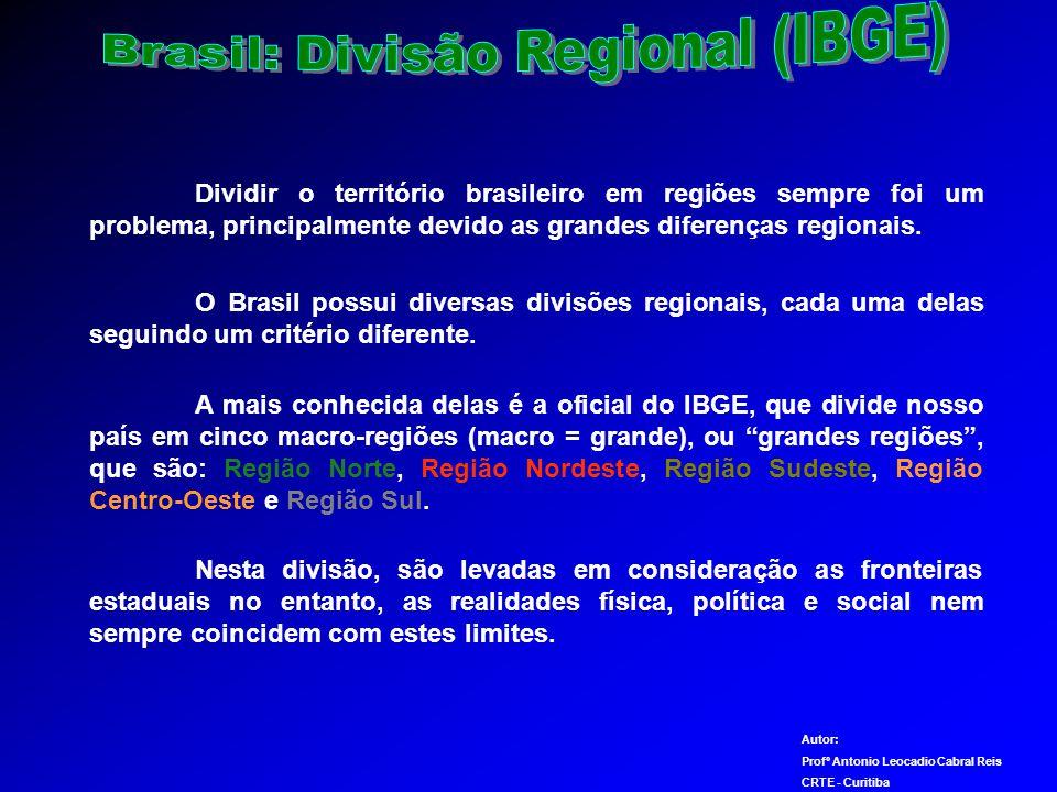 Dividir o território brasileiro em regiões sempre foi um problema, principalmente devido as grandes diferenças regionais.