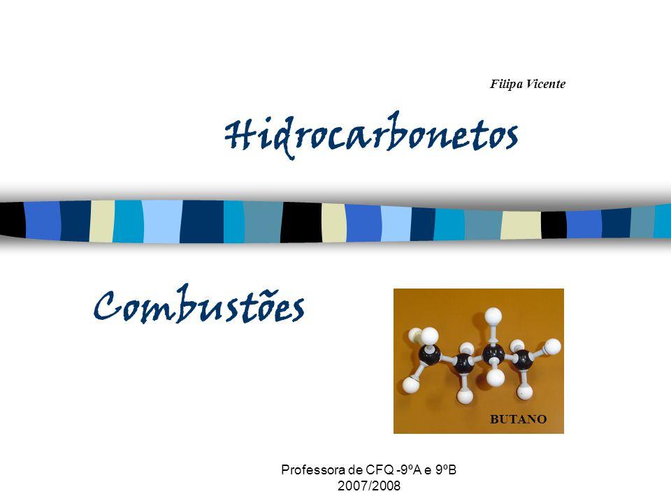 Filipa Vicente Professora de CFQ -9ºA e 9ºB 2007/2008 Hidrocarbonetos Combustões BUTANO