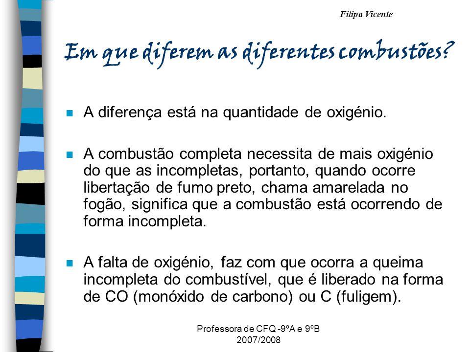 Filipa Vicente Professora de CFQ -9ºA e 9ºB 2007/2008 Em que diferem as diferentes combustões? n A diferença está na quantidade de oxigénio. n A combu