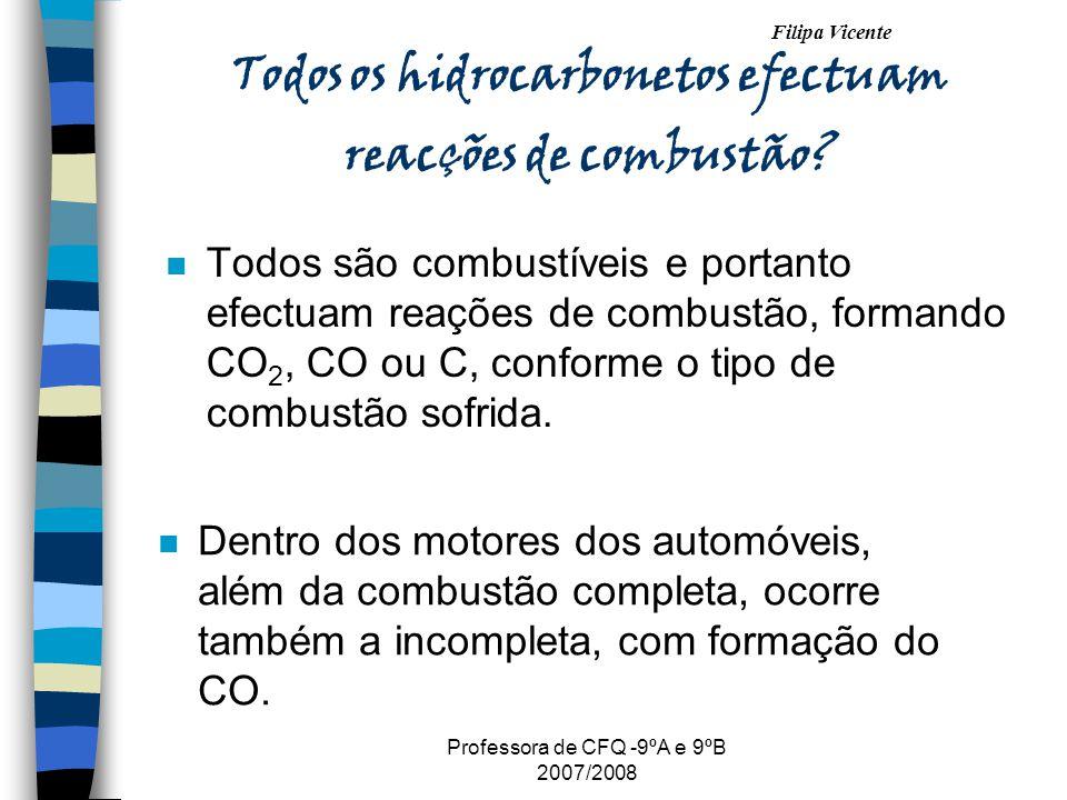 Filipa Vicente Professora de CFQ -9ºA e 9ºB 2007/2008 Todos os hidrocarbonetos efectuam reacções de combustão? n Todos são combustíveis e portanto efe