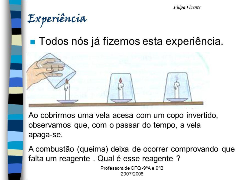 Filipa Vicente Professora de CFQ -9ºA e 9ºB 2007/2008 Experiência n Todos nós já fizemos esta experiência. Ao cobrirmos uma vela acesa com um copo inv