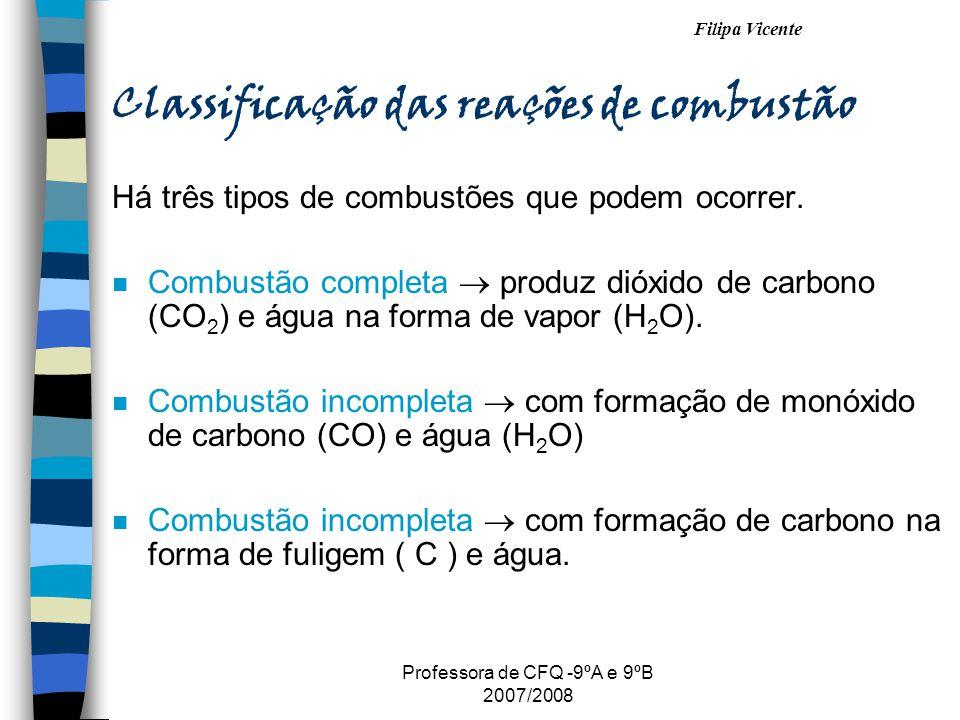 Filipa Vicente Professora de CFQ -9ºA e 9ºB 2007/2008 Classificação das reações de combustão Há três tipos de combustões que podem ocorrer. n Combustã