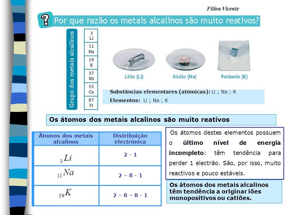 Filipa Vicente Substâncias elementares (atómicas): Li ; Na ; K Elementos: Li ; Na ; K Os átomos dos metais alcalinos são muito reativos Os átomos dos
