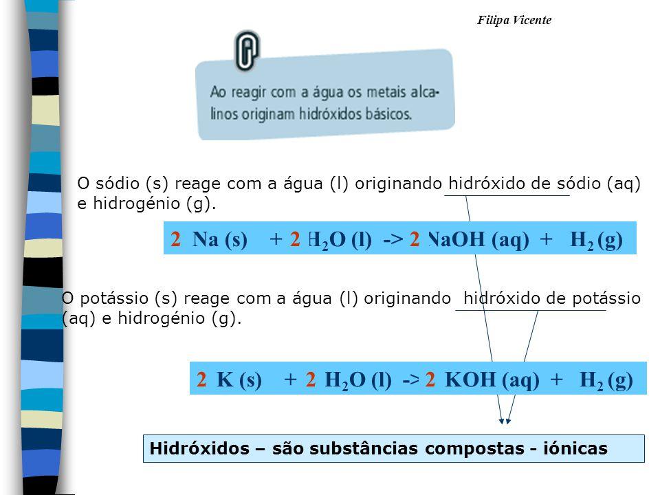 Filipa Vicente O sódio (s) reage com a água (l) originando hidróxido de sódio (aq) e hidrogénio (g). O potássio (s) reage com a água (l) originando hi