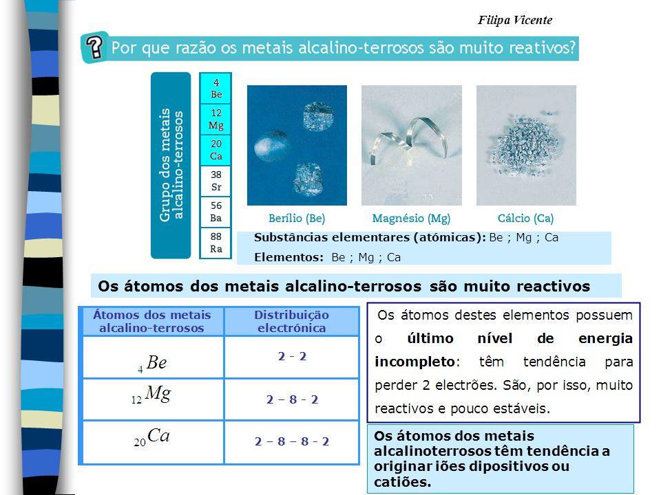 Filipa Vicente Os átomos dos metais alcalino-terrosos são muito reactivos Substâncias elementares (atómicas): Be ; Mg ; Ca Elementos: Be ; Mg ; Ca Os