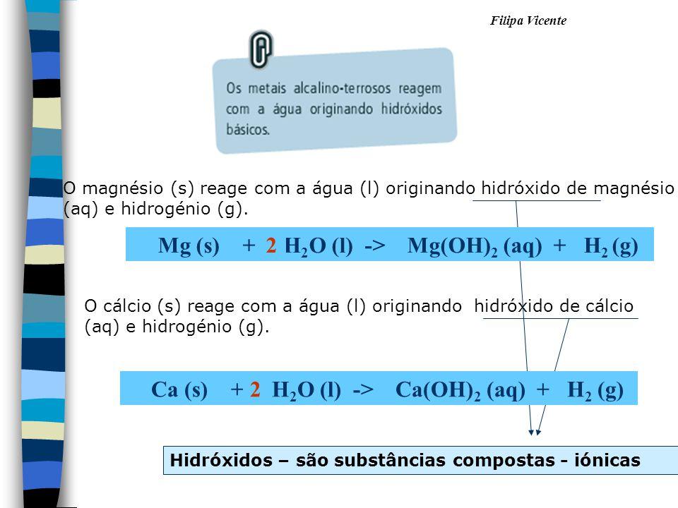 Filipa Vicente O magnésio (s) reage com a água (l) originando hidróxido de magnésio (aq) e hidrogénio (g). O cálcio (s) reage com a água (l) originand