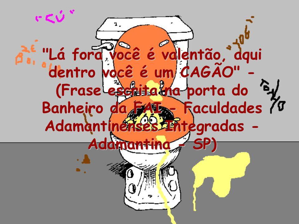 Lá fora você é valentão, aqui dentro você é um CAGÃO - (Frase escrita na porta do Banheiro da FAI - Faculdades Adamantinenses Integradas - Adamantina - SP)