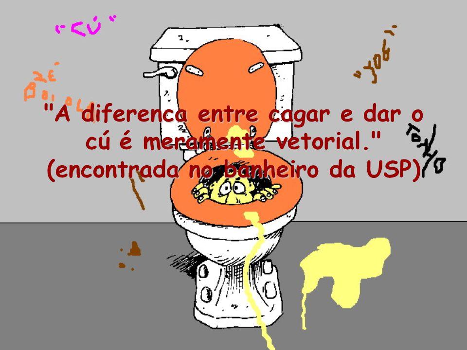 A diferenca entre cagar e dar o cú é meramente vetorial. (encontrada no banheiro da USP)