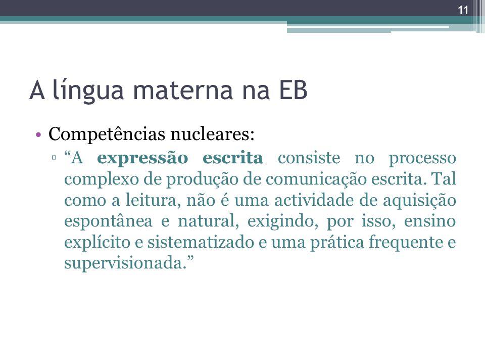 A língua materna na EB Competências nucleares: A expressão escrita consiste no processo complexo de produção de comunicação escrita. Tal como a leitur