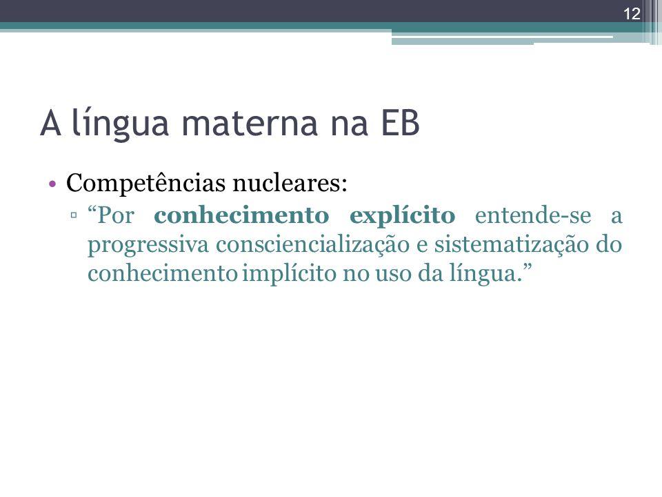 A língua materna na EB Competências nucleares: Por conhecimento explícito entende-se a progressiva consciencialização e sistematização do conhecimento
