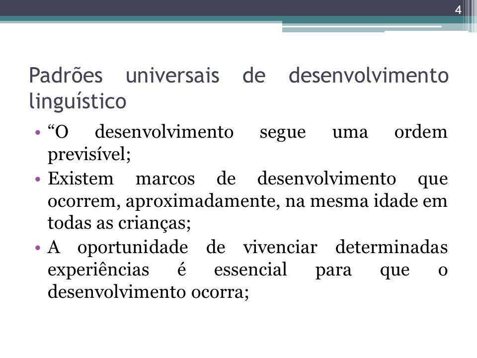 Padrões universais de desenvolvimento linguístico O desenvolvimento segue uma ordem previsível; Existem marcos de desenvolvimento que ocorrem, aproxim