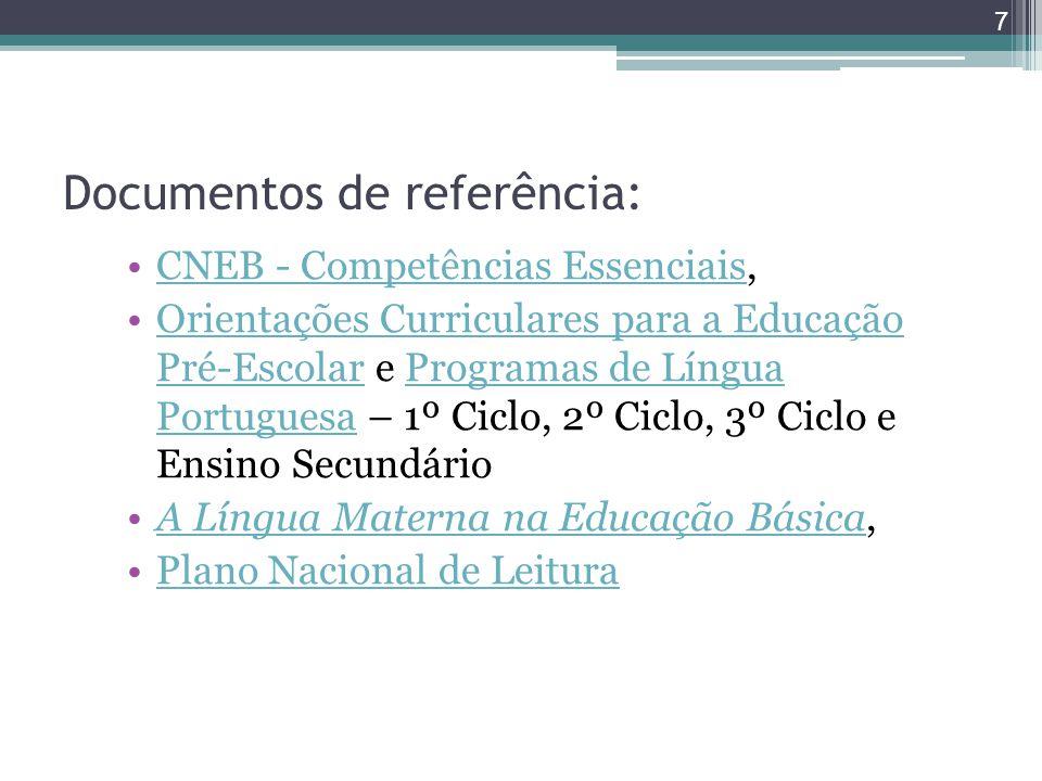 Documentos de referência: CNEB - Competências Essenciais,CNEB - Competências Essenciais Orientações Curriculares para a Educação Pré-Escolar e Program