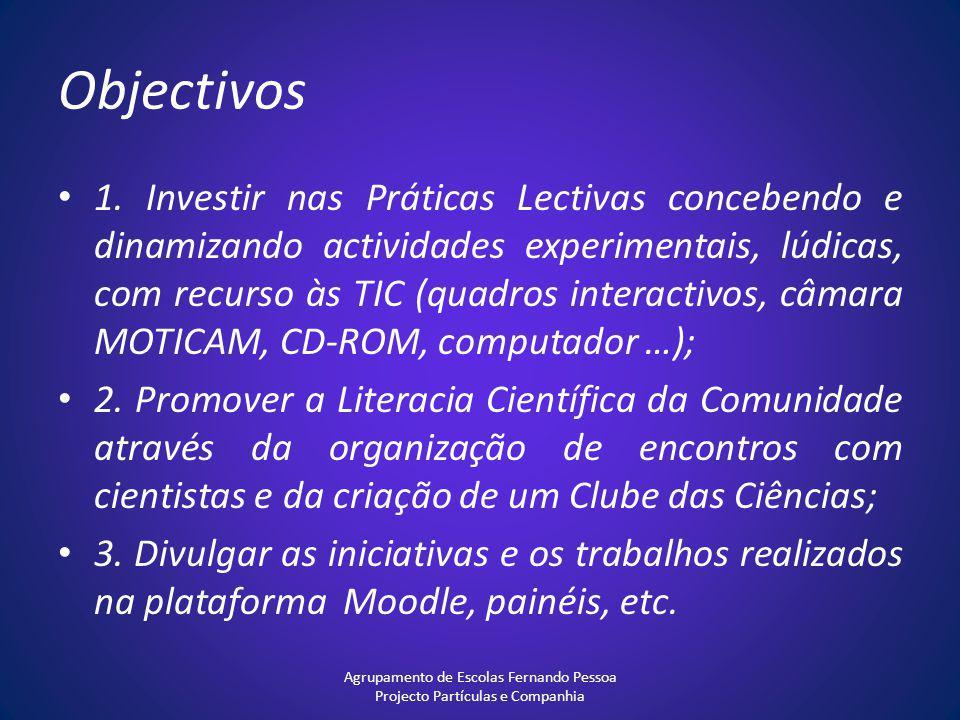 Objectivos 1. Investir nas Práticas Lectivas concebendo e dinamizando actividades experimentais, lúdicas, com recurso às TIC (quadros interactivos, câ