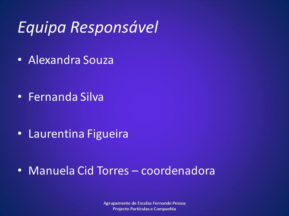 Equipa Responsável Alexandra Souza Fernanda Silva Laurentina Figueira Manuela Cid Torres – coordenadora Agrupamento de Escolas Fernando Pessoa Project