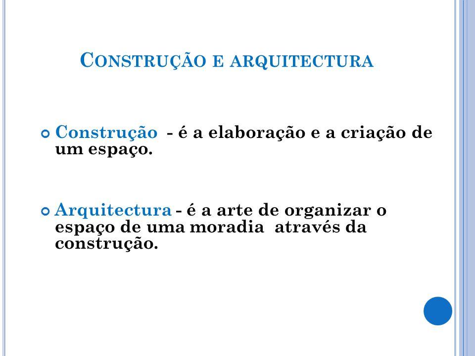 C ONSTRUÇÃO E ARQUITECTURA Construção - é a elaboração e a criação de um espaço.