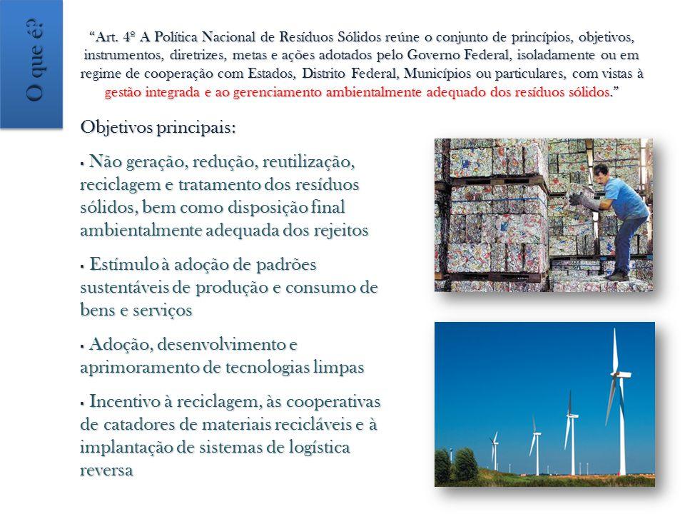 Art. 4º A Política Nacional de Resíduos Sólidos reúne o conjunto de princípios, objetivos, instrumentos, diretrizes, metas e ações adotados pelo Gover