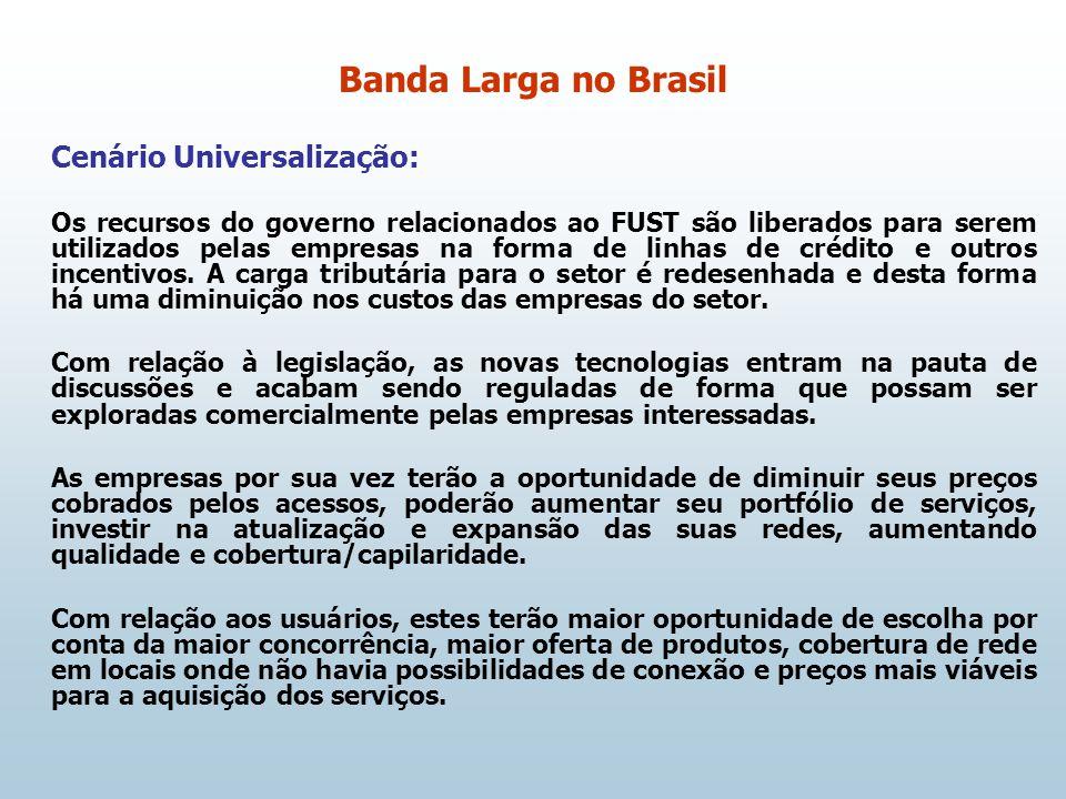Cenário Universalização: Os recursos do governo relacionados ao FUST são liberados para serem utilizados pelas empresas na forma de linhas de crédito e outros incentivos.