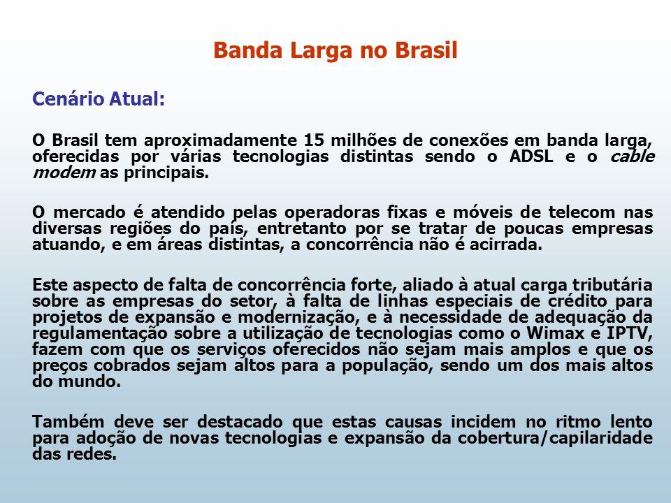Cenário Atual: O Brasil tem aproximadamente 15 milhões de conexões em banda larga, oferecidas por várias tecnologias distintas sendo o ADSL e o cable modem as principais.