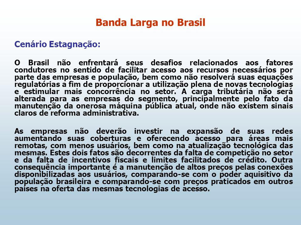 Cenário Estagnação: O Brasil não enfrentará seus desafios relacionados aos fatores condutores no sentido de facilitar acesso aos recursos necessários