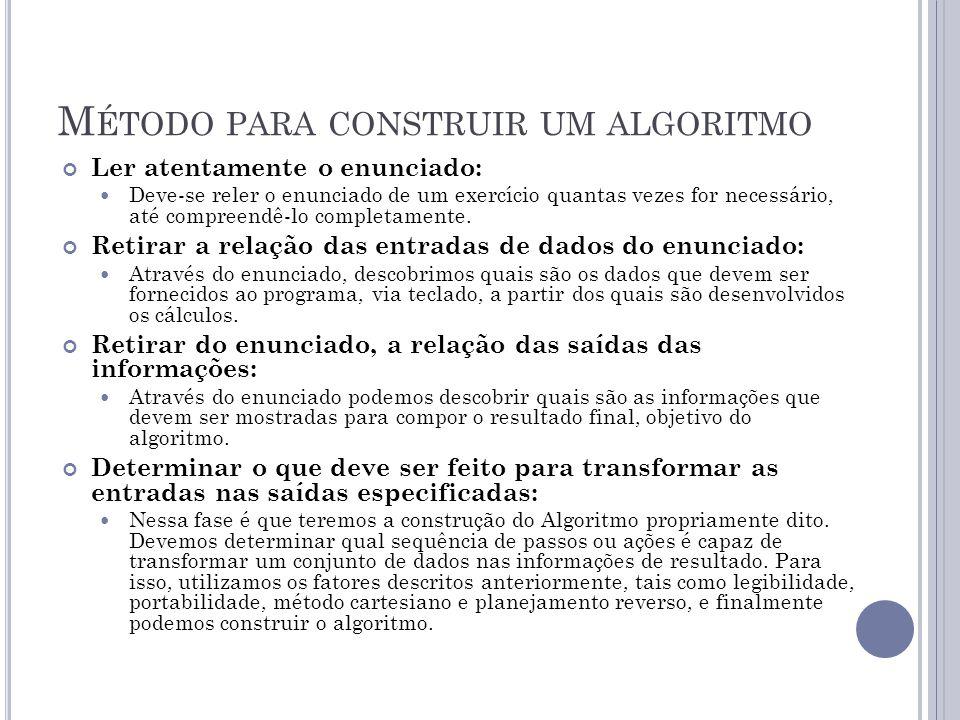 R EPRESENTAÇÃO DE A LGORITMOS As formas mais comuns de representação de algoritmos são as seguintes: Linguagem Natural Os algoritmos são expressos diretamente em linguagem natural.
