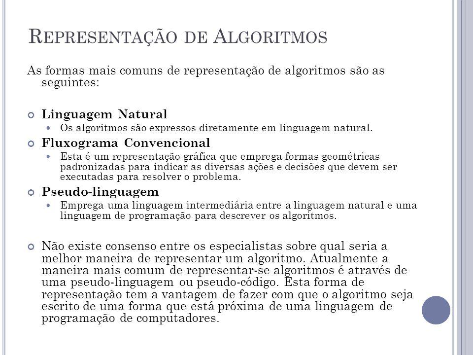 R EPRESENTAÇÃO DE A LGORITMOS As formas mais comuns de representação de algoritmos são as seguintes: Linguagem Natural Os algoritmos são expressos dir