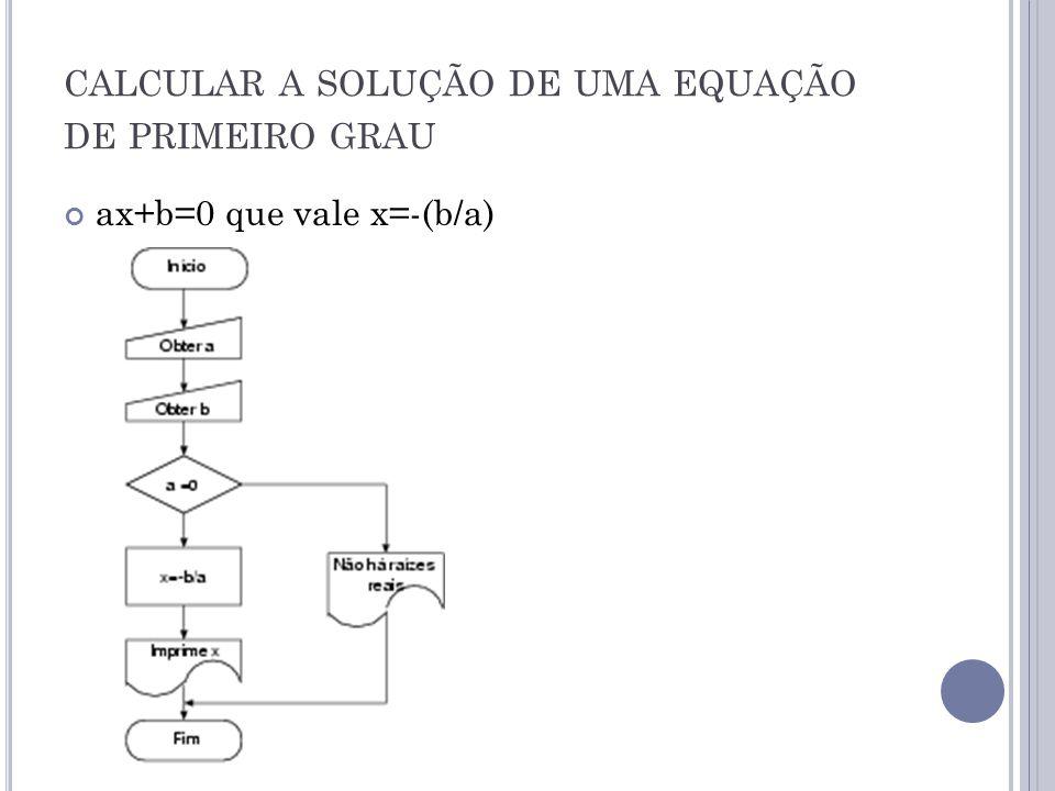 CALCULAR A SOLUÇÃO DE UMA EQUAÇÃO DE PRIMEIRO GRAU ax+b=0 que vale x=-(b/a)