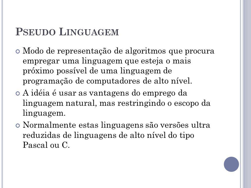 P SEUDO L INGUAGEM Modo de representação de algoritmos que procura empregar uma linguagem que esteja o mais próximo possível de uma linguagem de progr