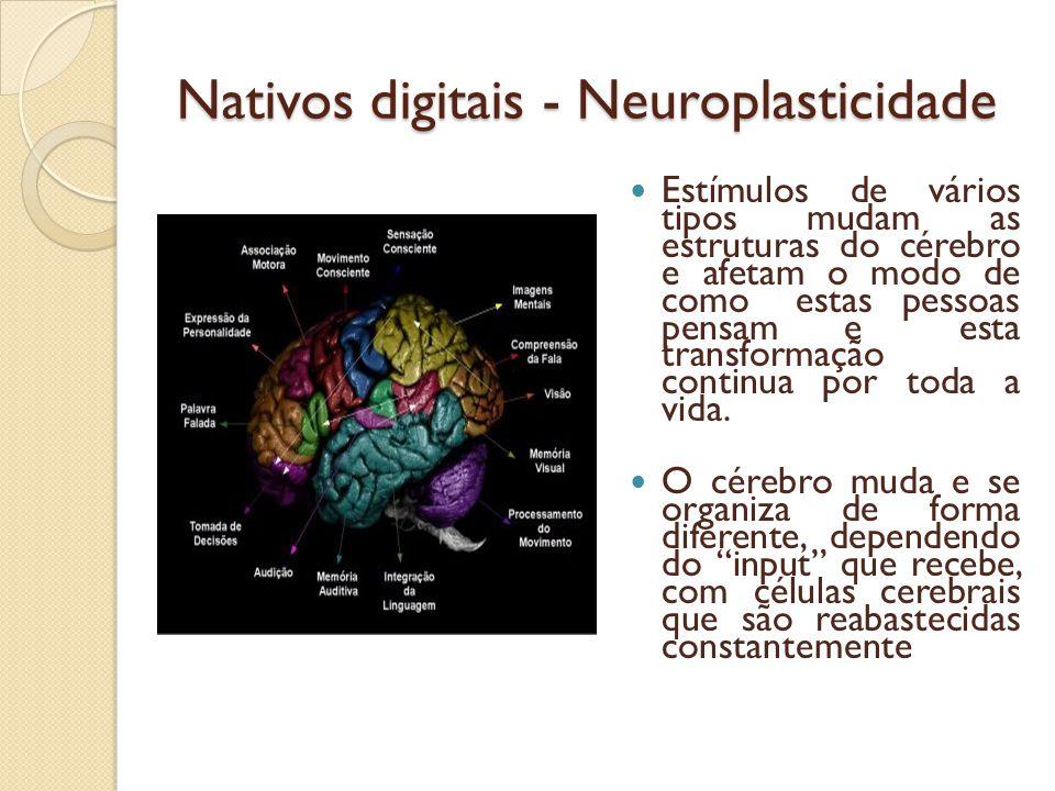 Nativos digitais - Neuroplasticidade Estímulos de vários tipos mudam as estruturas do cérebro e afetam o modo de como estas pessoas pensam e esta tran