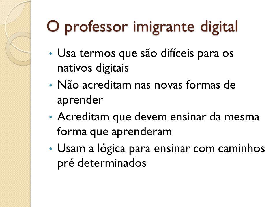 O professor imigrante digital Usa termos que são difíceis para os nativos digitais Não acreditam nas novas formas de aprender Acreditam que devem ensi