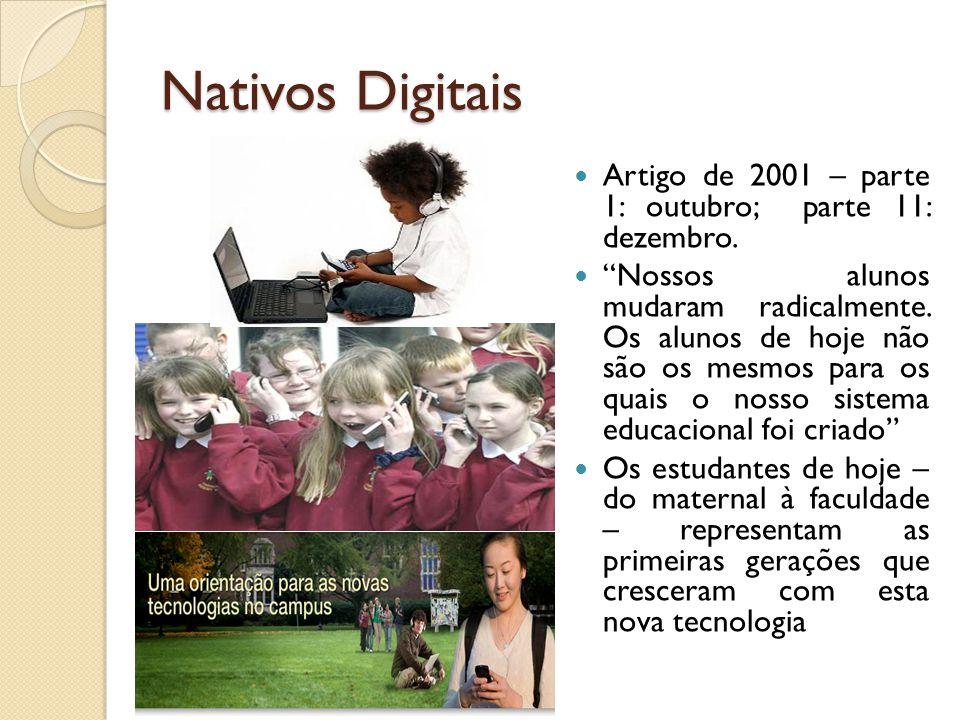 Nativos Digitais Artigo de 2001 – parte 1: outubro; parte 11: dezembro. Nossos alunos mudaram radicalmente. Os alunos de hoje não são os mesmos para o