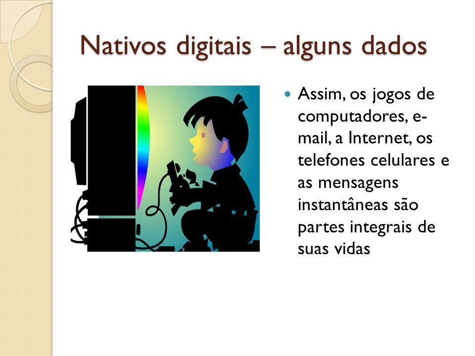Nativos digitais – alguns dados Assim, os jogos de computadores, e- mail, a Internet, os telefones celulares e as mensagens instantâneas são partes in