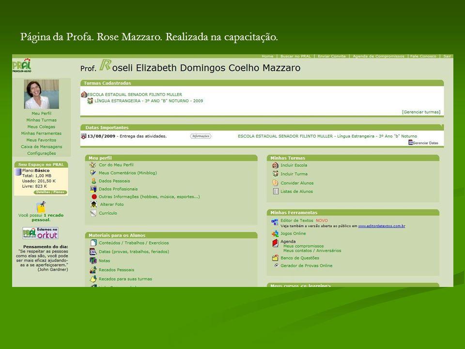 Página da Profa. Rose Mazzaro. Realizada na capacitação.