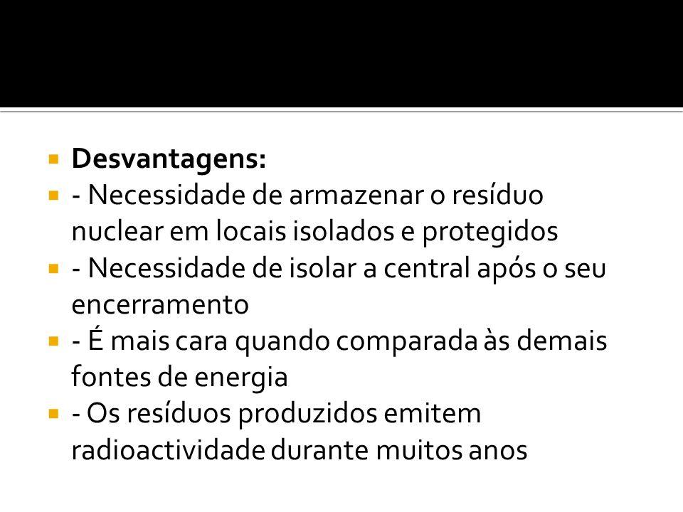 Desvantagens: - Necessidade de armazenar o resíduo nuclear em locais isolados e protegidos - Necessidade de isolar a central após o seu encerramento -