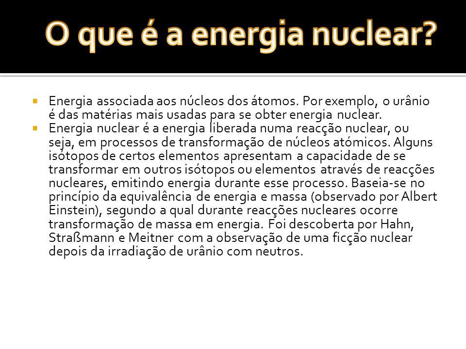Energia associada aos núcleos dos átomos. Por exemplo, o urânio é das matérias mais usadas para se obter energia nuclear. Energia nuclear é a energia