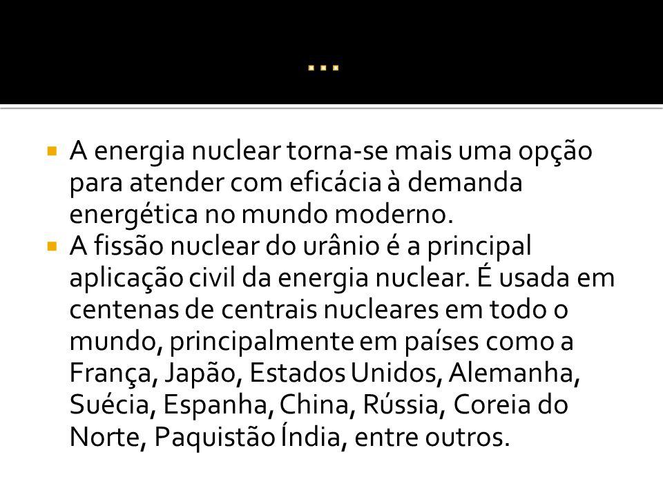 A energia nuclear torna-se mais uma opção para atender com eficácia à demanda energética no mundo moderno. A fissão nuclear do urânio é a principal ap