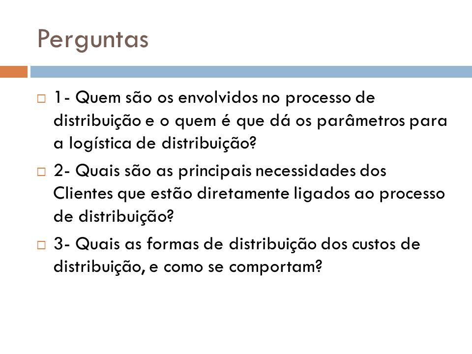 Perguntas 1- Quem são os envolvidos no processo de distribuição e o quem é que dá os parâmetros para a logística de distribuição.