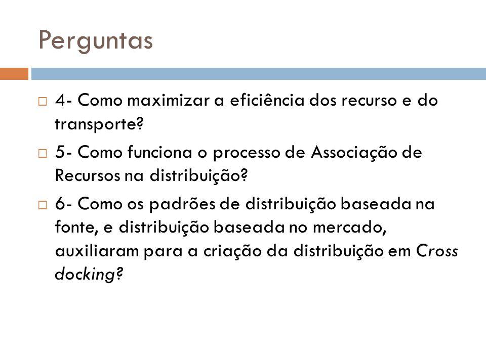 Perguntas 4- Como maximizar a eficiência dos recurso e do transporte.
