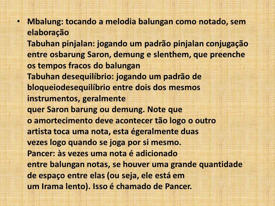 Mbalung: tocando a melodia balungan como notado, sem elaboração Tabuhan pinjalan: jogando um padrão pinjalan conjugação entre osbarung Saron, demung e