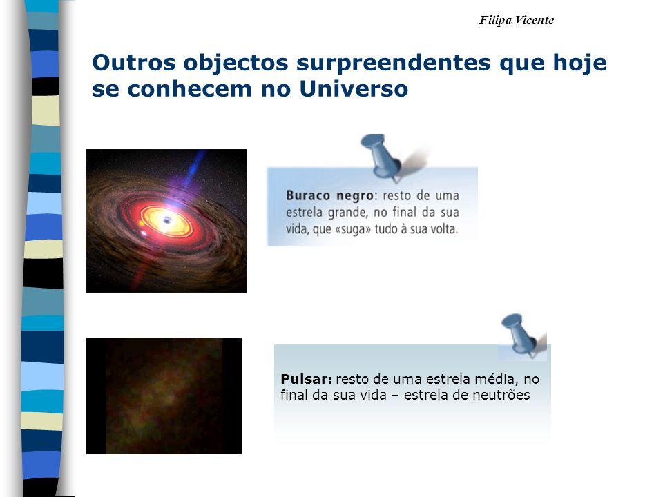 Filipa Vicente Outros objectos surpreendentes que hoje se conhecem no Universo Pulsar: resto de uma estrela média, no final da sua vida – estrela de neutrões