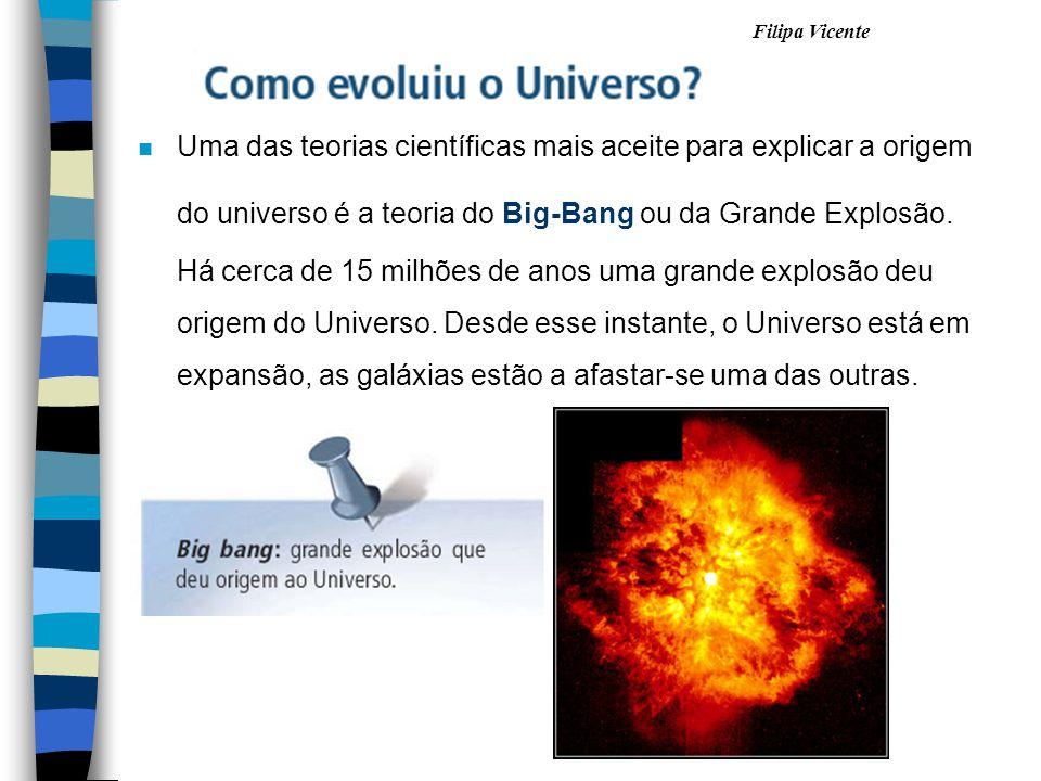 Filipa Vicente nUnUma das teorias científicas mais aceite para explicar a origem do universo é a teoria do Big-Bang ou da Grande Explosão. Há cerca de