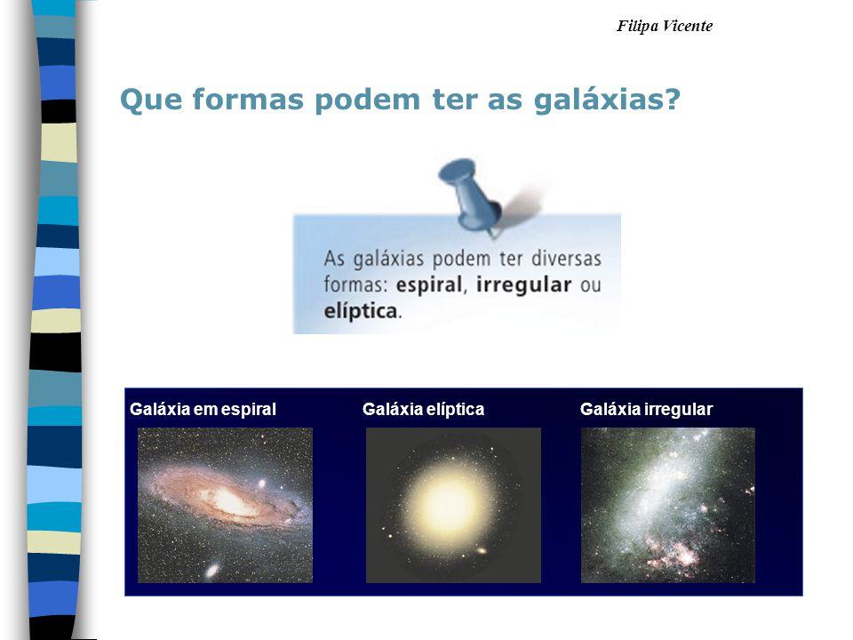 Filipa Vicente Que formas podem ter as galáxias? Galáxia em espiral Galáxia elípticaGaláxia irregular