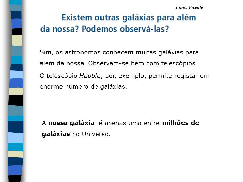 Filipa Vicente A nossa galáxia é apenas uma entre milhões de galáxias no Universo. Sim, os astrónomos conhecem muitas galáxias para além da nossa. Obs